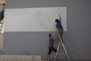 beamervlak op muur